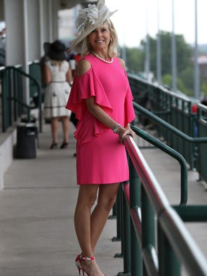 Traci Jacobs rocked a hot pink dress on Derby Day at