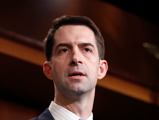 Sen. Tom Cotton, R-Ark., speaks during a news conference