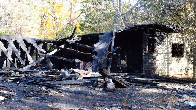 The remains of a home on West Sherman Avenue that was destroyed in a fire Friday night.
