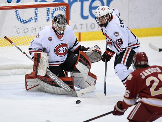 St. Cloud State's Mikey Eyssimont tries to get control