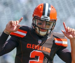 Sep 13, 2015; East Rutherford, NJ, USA; Cleveland Browns quarterback Johnny Manziel (2) during the pre game warmups for their game against the New York Jets at MetLife Stadium. Mandatory Credit: Ed Mulholland-USA TODAY Sports