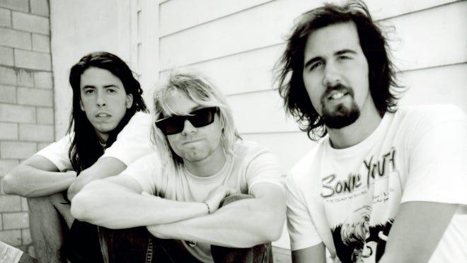 Nirvana, circa 1991, Dave Grohl, left, Kurt Cobain and Chris Novoselic.