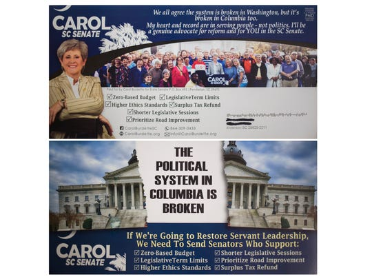 Carol Burdette mailed this campaign flier to voters in South Carolina Senate District 3.