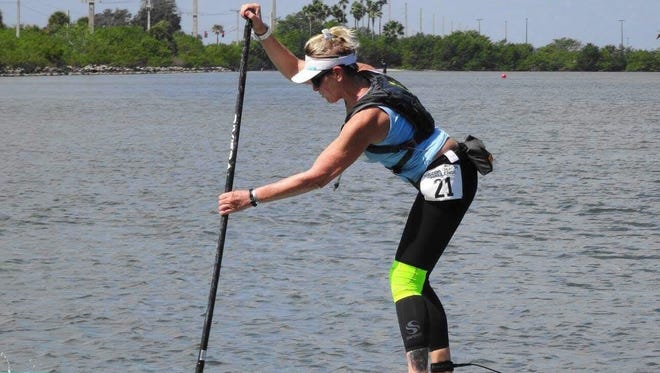 In the over 50 women's divisions, Lindy Carter, 55, has been paddling for five years and will be riding her 14-foot board in the six-mile course.