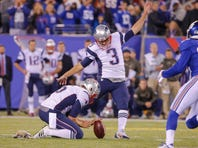 Nov 15, 2015; East Rutherford, NJ, USA;  New England Patriots kicker Stephen Gostkowski (3) kicks the game-winning field goal against the New York Giants with 1 second remaining in the game at MetLife Stadium. Mandatory Credit: Jim O'Connor-USA TODAY Sports