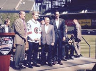 Colorado Avalanche team captain Gabriel Landeskog, (second from left) shows off the