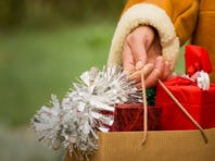 Gifts for Christmas in shopping bag