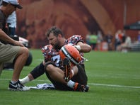 Cleveland Browns Pro Bowl left tackle Joe Thomas was injured near the end of Monday's practice in Berea.