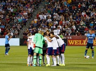 Jul 29, 2015; Denver, CO, USA; MLS All Stars huddle on the field prior to starting the second half of the 2015 MLS All Star Game at Dick's Sporting Goods Park. Mandatory Credit: Isaiah J. Downing-USA TODAY Sports
