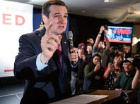 HOLLIS, NH - FEBRUARY 9: Republican presidential candidate Ted Cruz speaks to his supporters at a primary night gathering, held at Alpine Grove Banquet facility on February 9, 2016, in Hollis, New Hampshire. Cruz finished third in the New Hampshire primary behind Donald Trump and Ohio Gov. John Kasich.  (Photo by Kayana Szymczak/Getty Images)