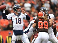 Quarterback Peyton Manning #18 of the Denver Broncos throws a pass during the first quarter against the Cleveland Browns at Cleveland Browns Stadium on Oct. 18, 2015 in Cleveland.