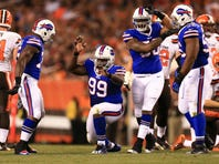Aug 20, 2015; Cleveland, OH, USA; Buffalo Bills defensive tackle Marcell Dareus (99) celebrates after a sack during the second quarter of a preseason game against the Cleveland Browns at FirstEnergy Stadium. Mandatory Credit: Andrew Weber-USA TODAY Sports