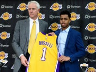 Jun 29, 2015; Los Angeles, CA, USA; Los Angeles Lakers guard D'Angelo Russell (1), guard Anthony Brown (3) , forward Lanny Nance (7) and are introduced to the media during a press conference at the Toyota Sports Center. Mandatory Credit: Jayne Kamin-Oncea-USA TODAY Sports