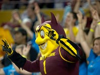 Dec 13, 2014; Tempe, AZ, USA; Arizona State Sun Devils mascot Sparky reacts during the second half against the Pepperdine Waves at Wells-Fargo Arena. Sun Devils defeated the Waves 81-74