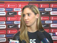 Houston Dash and for the United States women's national soccer team Morgan Brian addresses the media.