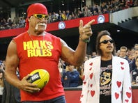 Wrestler Hulk Hogan gestures to the crowd while making an appearance during the round five AFL match between the Carlton Blues and the Collingwood Magpies at Melbourne Cricket Ground on May 1, 2015 in Melbourne, Australia.
