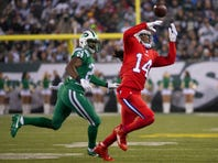 Nov 12, 2015; East Rutherford, NJ, USA;  Buffalo Bills wide receiver Sammy Watkins (14) misses a pass defended by New York Jets cornerback Darrelle Revis (24) in the 1st quarter at MetLife Stadium. Mandatory Credit: William Hauser-USA TODAY Sports