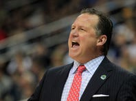 Mar 21, 2015; Pittsburgh, PA, USA; North Carolina State Wolfpack head coach Mark Gottfried yells from the sidelines during the first half against the Villanova Wildcats in the third round of the 2015 NCAA Tournament at Consol Energy Center. Mandatory Credit: Charles LeClaire-USA TODAY Sports