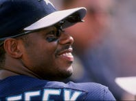 21 Mar 1998:  Oufielder Ken Griffey Jr. of the Seattle Mariners in action during a spring training game against the Chicago Cubs at the Peoria Sports Complex in Peoria, Arizona.
