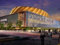 An artist rendition of the proposed Seattle arena in the SoDo neighborhood.