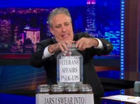 """""""Daily Show"""" host Jon Stewart often trained his show's satirical fire, and his prop budget, on problems within the Veterans Affairs Department."""