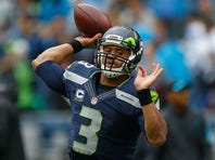 SEATTLE, WA - OCTOBER 18:  Quarterback Russell Wilson #3 of the Seattle Seahawks warms up prior to the game against the Carolina Panthers at CenturyLink Field on October 18, 2015 in Seattle, Washington.  (Photo by Otto Greule Jr/Getty Images) *** Local Caption *** Russell Wilson