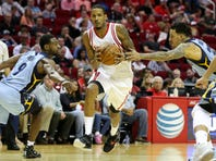 Mar 14, 2016; Houston, TX, USA; Houston Rockets forward Trevor Ariza (1) drives with the ball during the second quarter against the Memphis Grizzlies at Toyota Center. Mandatory Credit: Troy Taormina-USA TODAY Sports