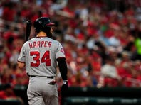 Sep 2, 2015; St. Louis, MO, USA; Washington Nationals right fielder Bryce Harper (34) walks back to the dugout after striking out during the first inning against the St. Louis Cardinals at Busch Stadium. The Nationals defeated the Cardinals 4-3. Mandatory Credit: Jeff Curry-USA TODAY Sports