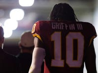 Aug 20, 2015; Landover, MD, USA; Washington Redskins quarterback Robert Griffin III (10) walks to the locker room after being injured against the Detroit Lions in the second quarter at FedEx Field. Mandatory Credit: Geoff Burke-USA TODAY Sports