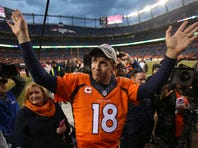 Jan 24, 2016; Denver, CO, USA; Denver Broncos quarterback Peyton Manning (18) waves to fans after  the AFC Championship football game at Sports Authority Field at Mile High.Denver Broncos defeated New England Patriots 20-18 to earn a trip to Super Bowl 50.  Mandatory Credit: Chris Humphreys-USA TODAY Sports