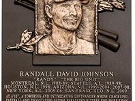Apr 6, 2015; Phoenix, AZ, USA; Arizona Diamondbacks former pitcher Randy Johnson prior to the game against the San Francisco Giants during opening day at Chase Field.