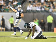 Philadelphia Eagles wide receiver Josh Huff (13) reacts after an interception in the fourth quarter against the Dallas Cowboys