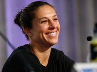 Jul 3, 2015; Vancouver, BC, CAN; United States midfielder Carli Lloyd smiles during a press conference for the 2015 Women's World Cup at the Sheraton Vancouver Wall Centre. Mandatory Credit: Michael Chow-USA TODAY Sports
