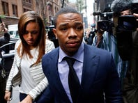 """FILE - In this Nov. 5, 2014, file photo, Ray Rice arrives with his wife Janay Palmer for an appeal hearing of his indefinite suspension from the NFL in New York.   Rice has won the appeal of his indefinite suspension by the NFL, which has been """"vacated immediately,"""" the NFL football players' union said Friday, Nov. 28, 2014."""
