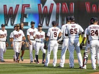 Aug 30, 2015; Minneapolis, MN, USA; The Minnesota Twins celebrate the 7-5 victory against the Houston Astros at Target Field.