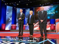 """NBC News - YouTube Democratic Candidates Debate -- Pictured: (l-r) Fmr. Maryland Governor Martin O'Malley, Fmr. Secretary of State Hillary Clinton, and Vermont Sen. Bernie Sanders appear during the """"NBC News - YouTube Democratic Candidates Debate"""" on Sunday, January 17, 2016 at the Gaillard Center Theatre in Charleston, SC"""