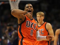Oklahoma City Thunder guard Russell Westbrook (0) reacts after a play against the Sacramento Kings during the second quarter at Chesapeake Energy Arena.