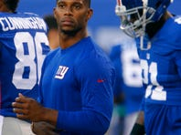 Aug 22, 2015; East Rutherford, NJ, USA; New York Giants wide receiver Victor Cruz (80) during warm ups before game against the Jacksonville Jaguars at MetLife Stadium. Mandatory Credit: Noah K. Murray-USA TODAY Sports