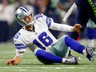 Dallas Cowboys quarterback Matt Cassel (16) reacts during the game