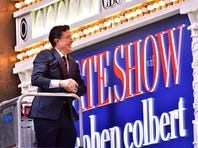 NEW YORK, NY - DECEMBER 03:  (Exclusive Coverage) Stephen Colbert changes a light bulb on The Ed Sullivan Theater marquee during 'The Late Show With Stephen Colbert' taping on December 3, 2015 in New York City.  (Photo by James Devaney/GC Images)