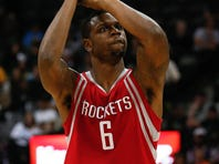 Nov 13, 2015; Denver, CO, USA; Houston Rockets forward Terrence Jones (6) takes a shot in the fourth quarter against the Denver Nuggets at the Pepsi Center. Mandatory Credit: Isaiah J. Downing-USA TODAY Sports