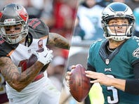 Mike Evans and the Tampa Bay Buccaneers face a Mark Sanchez-led Eagles team in Philadelphia.