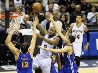 Kawhi Leonard hounded Golden State point guard Stephen Curry in the Spurs' 107-92 win over Golden State last April 5 at the Alamodome.