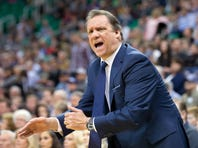 Mar 23, 2015; Salt Lake City, UT, USA; Minnesota Timberwolves head coach Flip Saunders reacts during the first quarter against the Utah Jazz at EnergySolutions Arena. Mandatory Credit: Russ Isabella-USA TODAY Sports