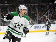 Dallas Stars right wing Ales Hemsky (83) celebrates his goal scored against the Los Angeles Kings during the first period at Staples Center on January 19, 2016.