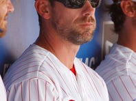 Cliff Lee (33) in the dugout during a spring training baseball game