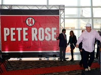 Jan 19, 2016; Cincinnati , OH, USA; Cincinnati Reds former player/manager Pete Rose during a news conference at Great American Ballpark. Rose will be inducted into the Cincinnati Reds Hall of Fame for the the weekend of June 24-26 of the 2016 season. Mandatory Credit: David Kohl-USA TODAY Sports