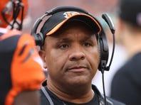 Dec 13, 2015; Cincinnati, OH, USA; Cincinnati Bengals offensive coordinator Hue Jackson looks on in the first half at Paul Brown Stadium. The Steelers won 33-20. Mandatory Credit: Aaron Doster-USA TODAY Sports