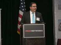 Winston Beauchamp, deputy undersecretary of the Air Force for Space, delivers his keynote speech at the C4ISR and Networks Breakfast event in Arlington, Va., April 27, 2016.