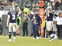 Tony Romo (9) on the field after game against the Philadelphia Eagles during the second half at Lincoln Financial Field.